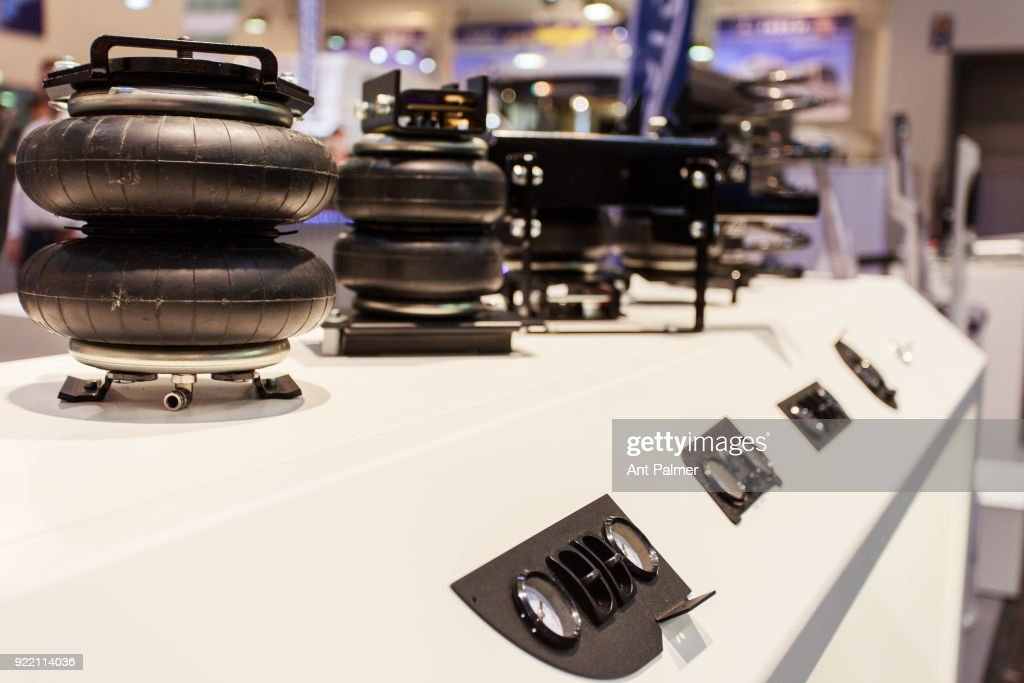 Winch and pulley components on display at the Reise + Camping Exhibition on February 21, 2018 in Essen, Germany. The annual event features over 1000 exhibitors from over 20 countries.
