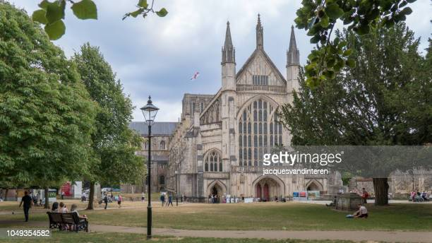 winchester cathedral, winchester, england (united kingdom) - winchester hampshire stock photos and pictures