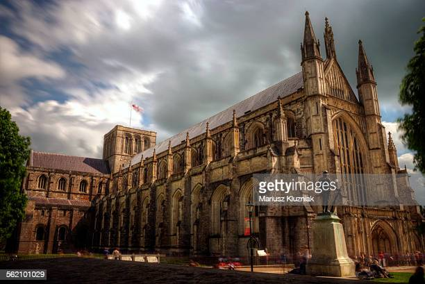 winchester gothic cathedral close up - winchester hampshire stock photos and pictures