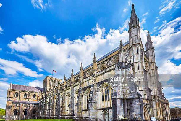 winchester gothic cathedral, england - winchester hampshire stock photos and pictures