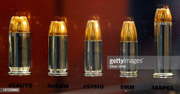 Winchester Ranger law enforcement ammunition is displayed in glass at the National Shooting Sports Foundation's 34th annual Shooting Hunting Outdoor...
