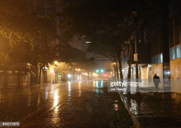 Wind and rain from Hurricane Irma blows through the streets on September 10 2017 in Miami Florida Hurricane Irma made landfall in the Florida Keys as...