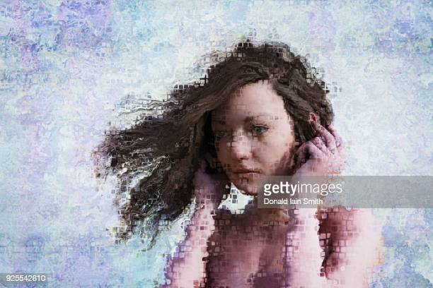 wind blowing hair of pixelated woman - digital distortion stock photos and pictures
