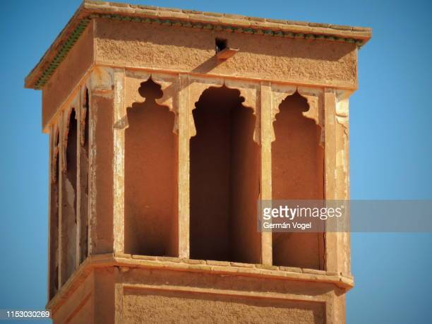 wind catching tower - badgir - of desert palace in kashan, iran - vogel stock pictures, royalty-free photos & images
