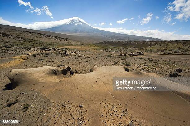 wind erosion feature on the west flank of 6310m volcan chimborazo, with its unique type of andean high paramo (puna) made dry by the rain shadow, chimborazo province, central highlands, ecuador, south america - rain_shadow stock pictures, royalty-free photos & images