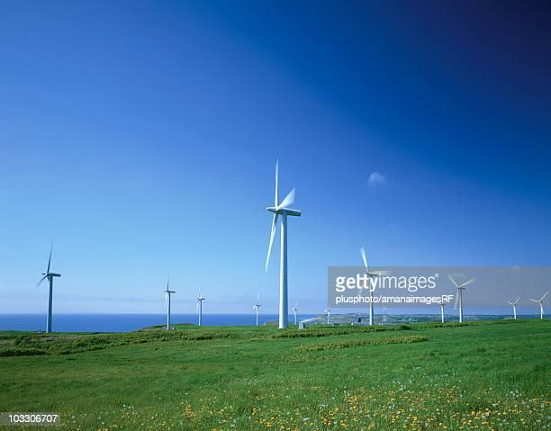 wind farm, hokkaido, japan - plusphoto stock pictures, royalty-free photos & images