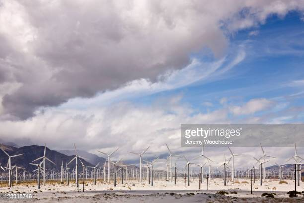 Wind farm in desert valley