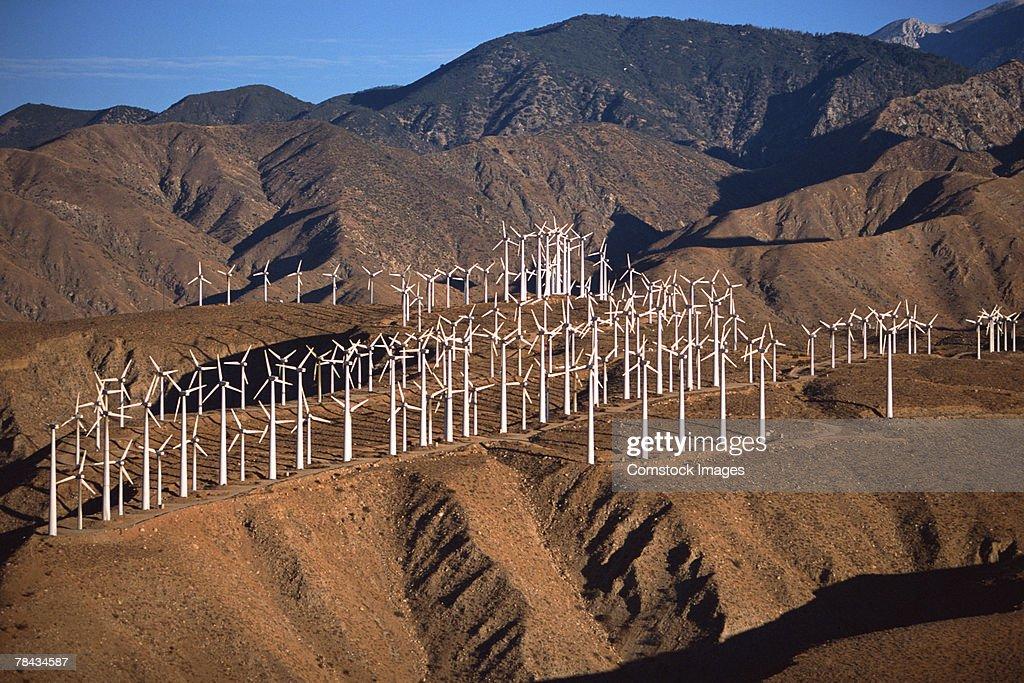 Wind farm in rural hills , Whitewater , California : Stockfoto