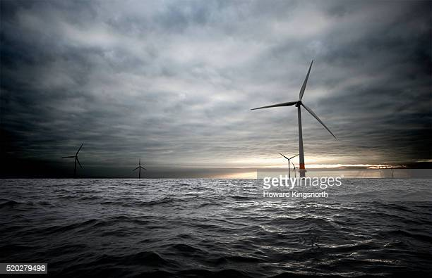 wind farm in the thames estuary - windmill stock pictures, royalty-free photos & images