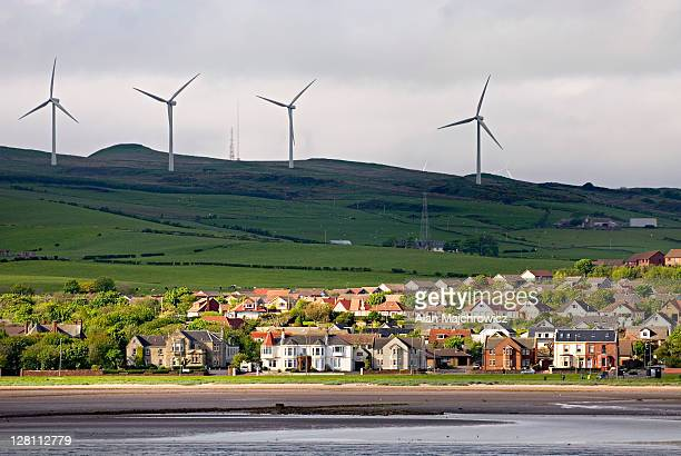 wind farm near ardrossan, scotland - town stock pictures, royalty-free photos & images