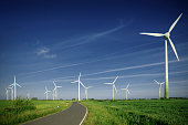 wind farm, road, green field, clear blue sky - new edition 2018