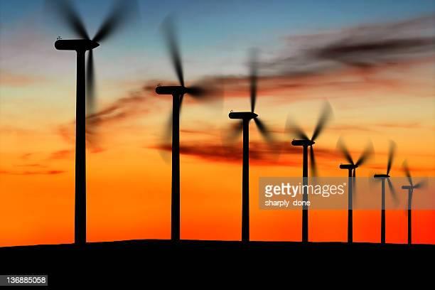 XL wind farm silhouette