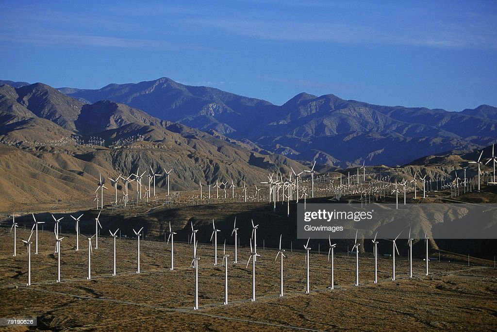 Wind farm turbines, Whitewater, California  : Stock Photo