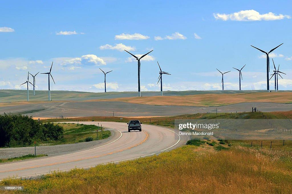 Wind farms turbines near US Route 2, Montana : Stock Photo