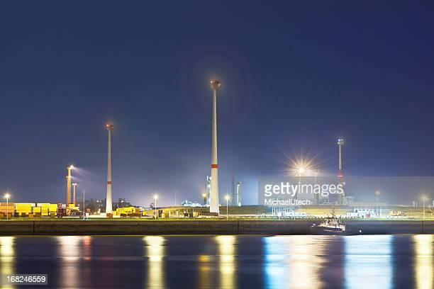 Wind Generation In Harbor At Night