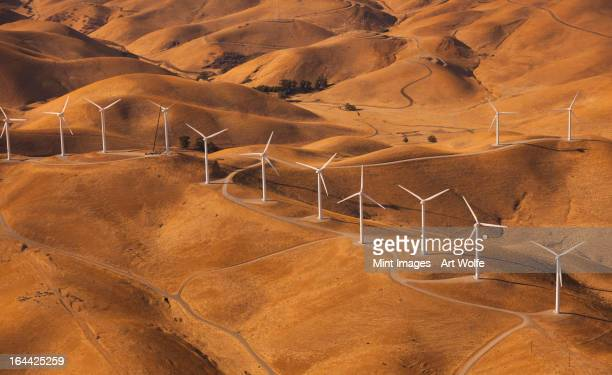 Wind generators in the landscape of the Altamira Pass, California