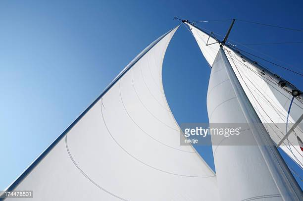 Wind in the sails against blue sky