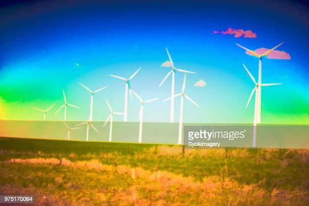 Wind mills in rural setting