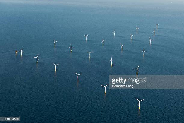 Wind Park in the sea, aerial view