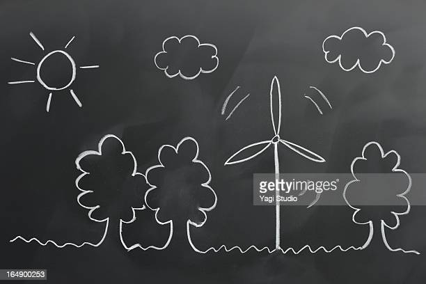 Wind power and natural environment drawn on a blac