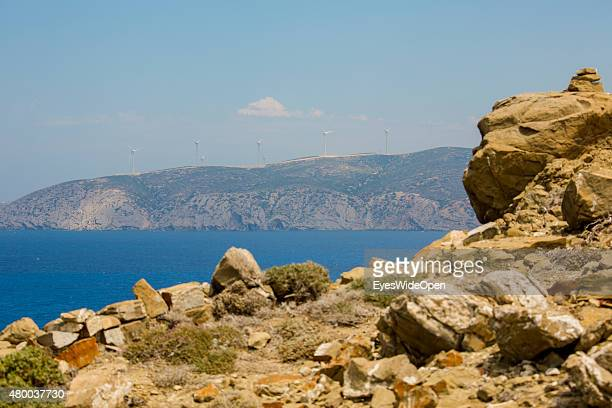 Wind power construction with its rotors near Prassonisi Island on June 28 2015 in Kattavia Rhodes Dodecanes Greece