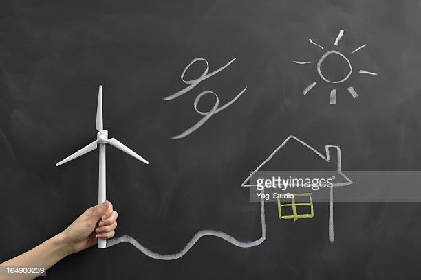 Wind power generation drawn on the blackboard