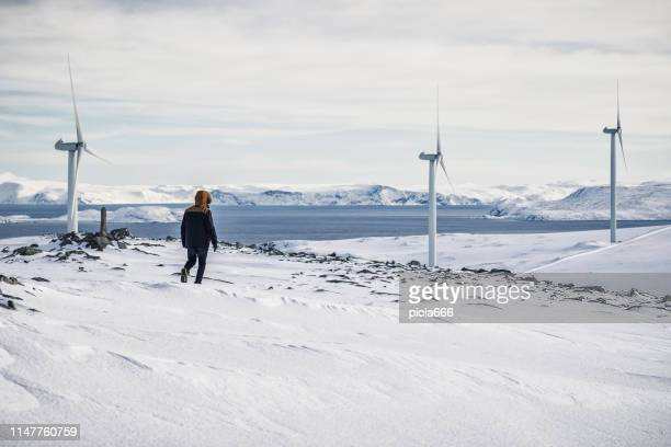wind power resource in the arctic: engineers at work - power supply stock pictures, royalty-free photos & images