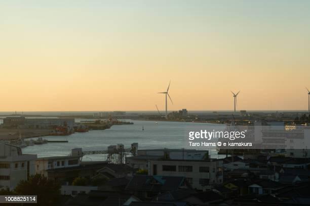 Wind power station in Sakai city in Yamagata prefecture in Japan