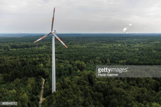 A wind power station in the middle of a forest and the brown coal power station of Boxberg are pictured on August 04 2017 in Bernsdorf Germany