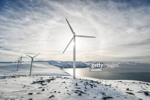 wind power sustainable resource in the arctic - power in nature stock pictures, royalty-free photos & images