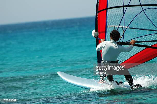 wind surfer - windsurfing stock pictures, royalty-free photos & images