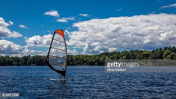 wind surfing on muskoka lakes - alma danison stock photos and pictures