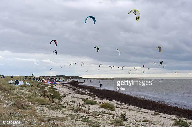 Wind surfing on the German coast.