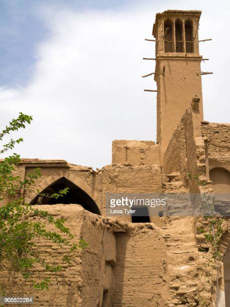 Wind towers on a house in the old town of Nain Iran Wind towers or windcatchers are a traditional Persian architectural element to create natural...