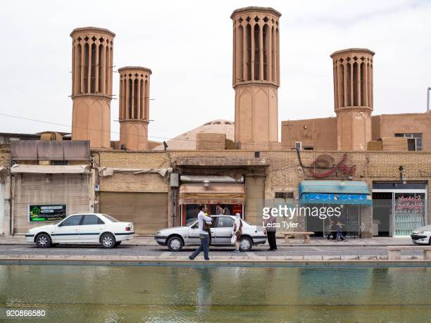 Wind towers on Amir Chakhmaq Square in the old town of Yazd Iran Wind towers or windcatchers are a traditional Persian architectural element to...