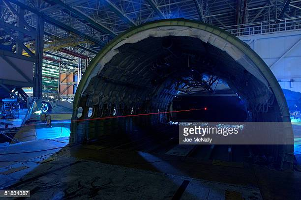A wind tunnel is used to test the aerodynamics of test planes January 19 2003 at Lockheed Martin in Marietta Georgia With the Wright Brothers'...