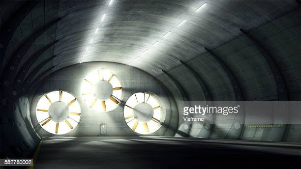 wind tunnel with three fans - aerodynamic stock pictures, royalty-free photos & images