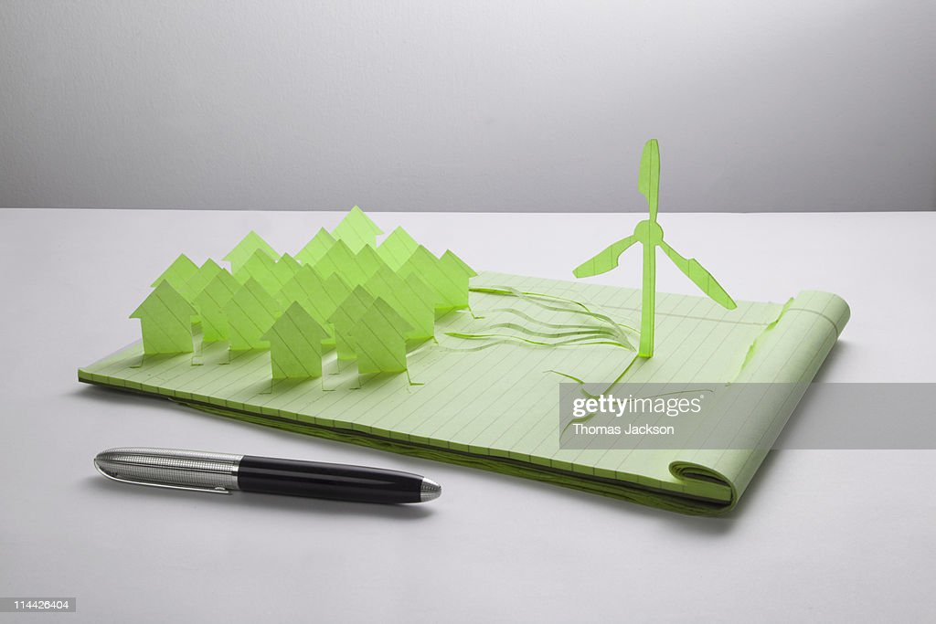 Wind turbine and houses cut from paper : Stock Photo