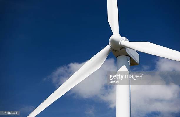 Wind turbine, Copy space. Blue sky.