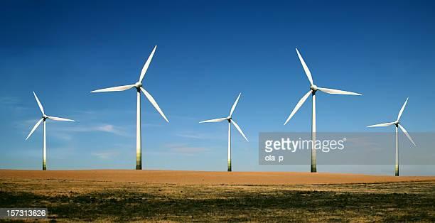 Wind turbine farm on a clear sunny day