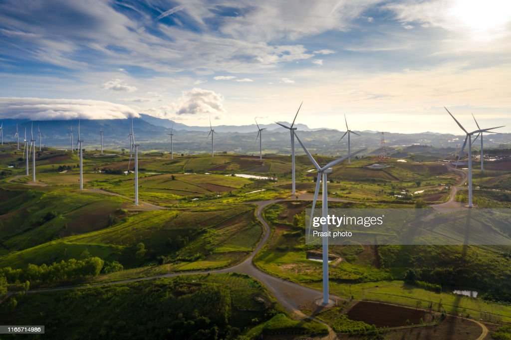 Wind turbine from aerial view in morning - Sustainable development, environment friendly, renewable energy concept. : ストックフォト