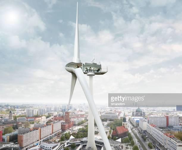 Wind turbine in Berlin TV tower
