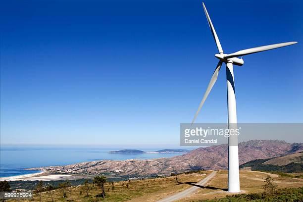Wind turbine in Carnota coast, A Coruña, Galicia (Spain)