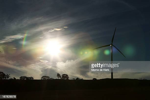 A wind turbine is seen on a hill on April 18 2013 in Waterloo Australia South Australia's Environmental Protection Agency in conjunction with the...