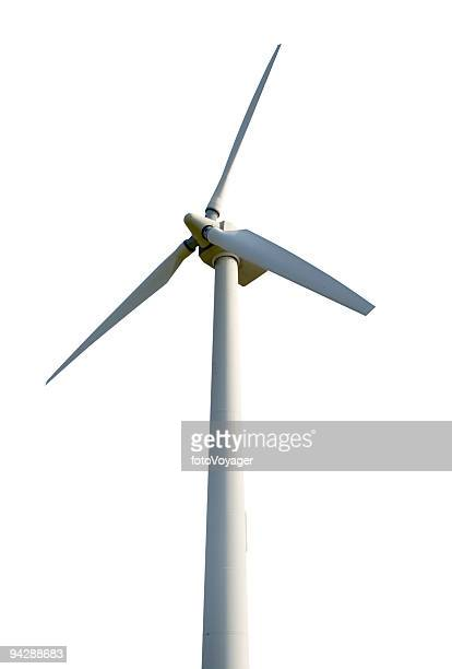 wind turbine isolated on white background - windmills stock photos and pictures