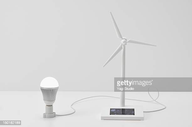 wind turbine models and LED Light.