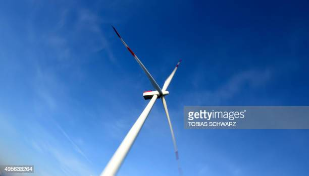 A wind turbine of the German offshore wind farm 'Amrum Bank West' owned by German energy company EON is seen near the Heligoland archipelago on the...