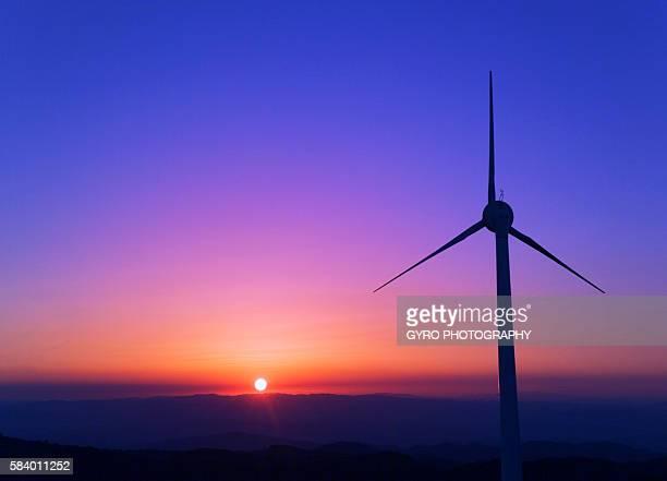 Wind turbine on hill, Mie Prefecture, Japan