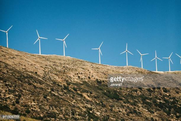 Wind turbine on hill of Kefalonia