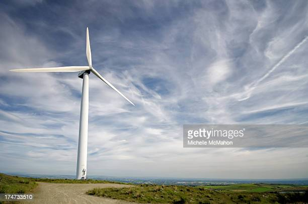 Wind turbine on Scout Moor near Edenfield in north-west England. The wind farm consists of 26 turbines high on the moors and is the largest onshore...